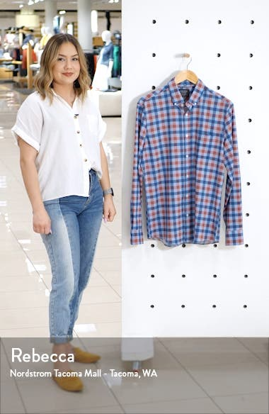 Nordstrom Mens Shop Tech-Smart Regular Fit Check Button-Down Shirt, sales video thumbnail