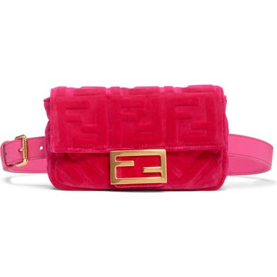 Fendi Logo Velvet Belt Bag - Pink