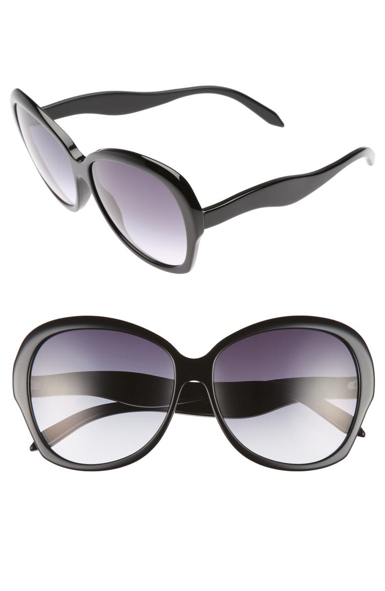 VICTORIA BECKHAM Happy 60mm Butterfly Sunglasses, Main, color, BLACK