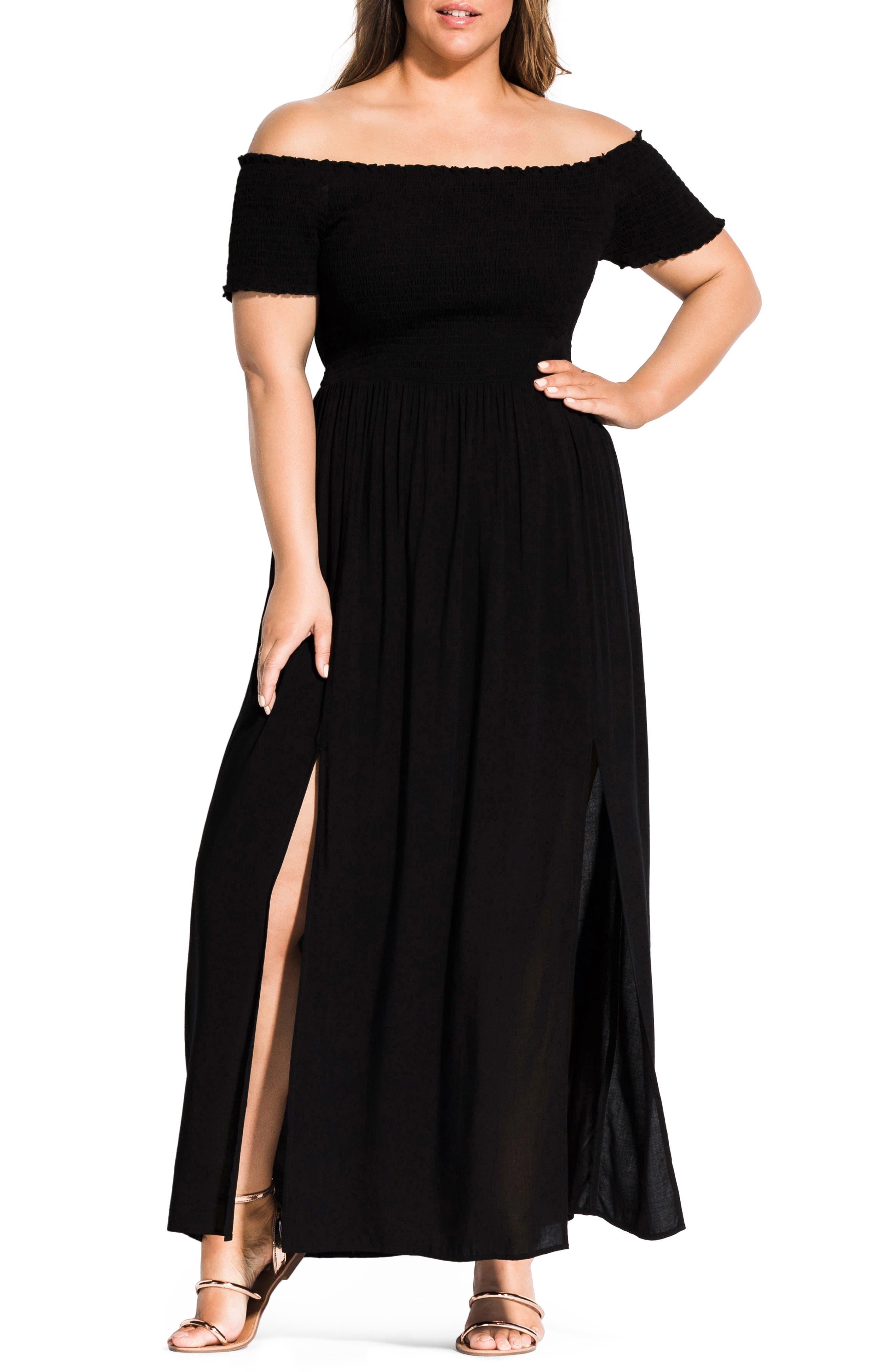 Plus Size City Chic Summer Passion Off The Shoulder Maxi Sundress, Black
