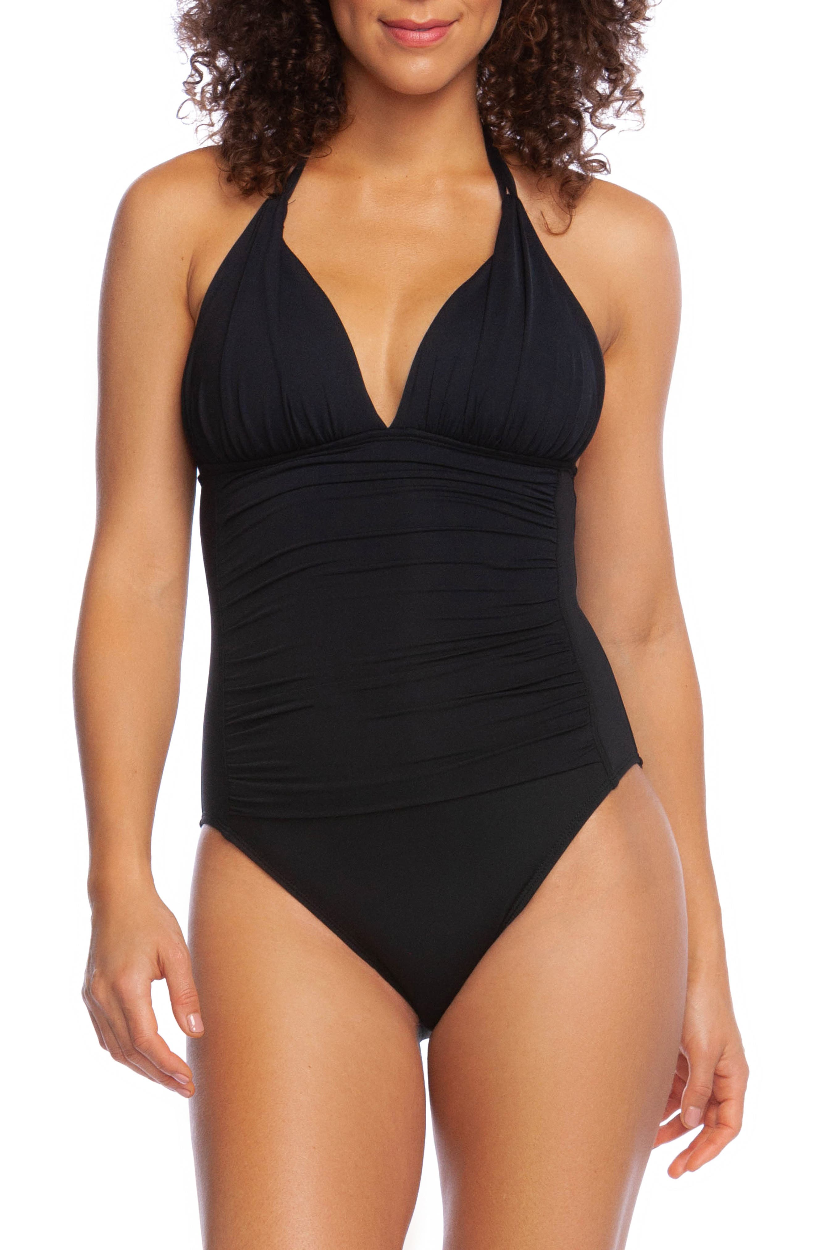La Blanca Island Goddess Mio One-Piece Halter Swimsuit, Black