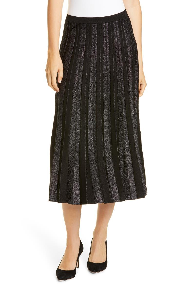 LEWIT Metallic Stripe Pleated Sweater Skirt, Main, color, 001