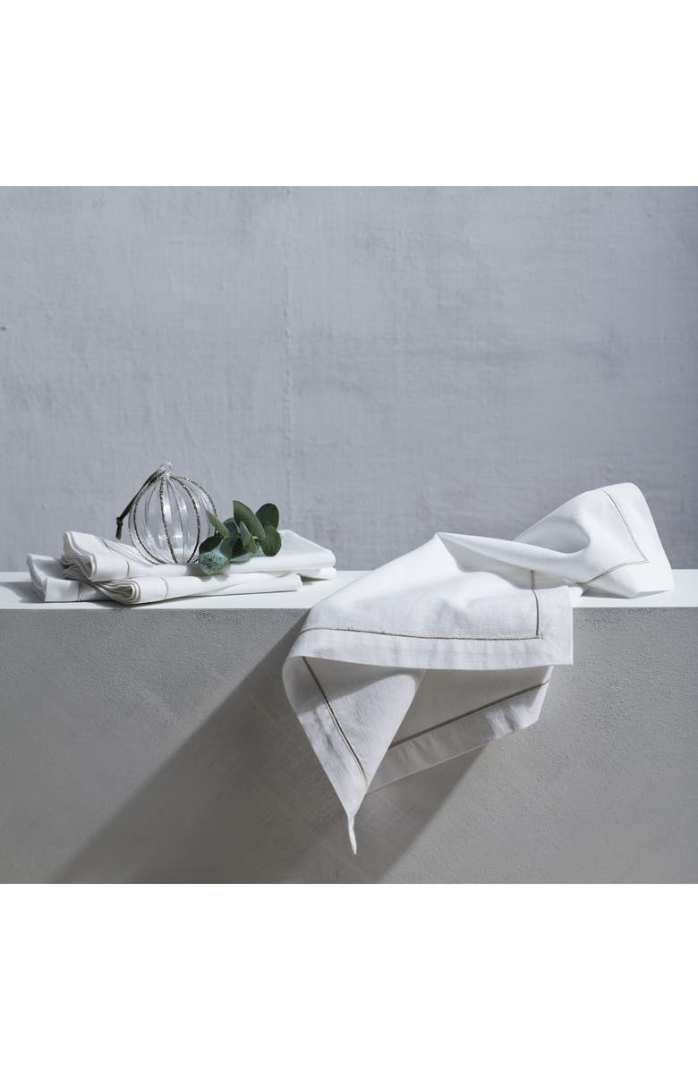 THE WHITE COMPANY Set of 4 Single Row Cord Napkins, Main, color, 100