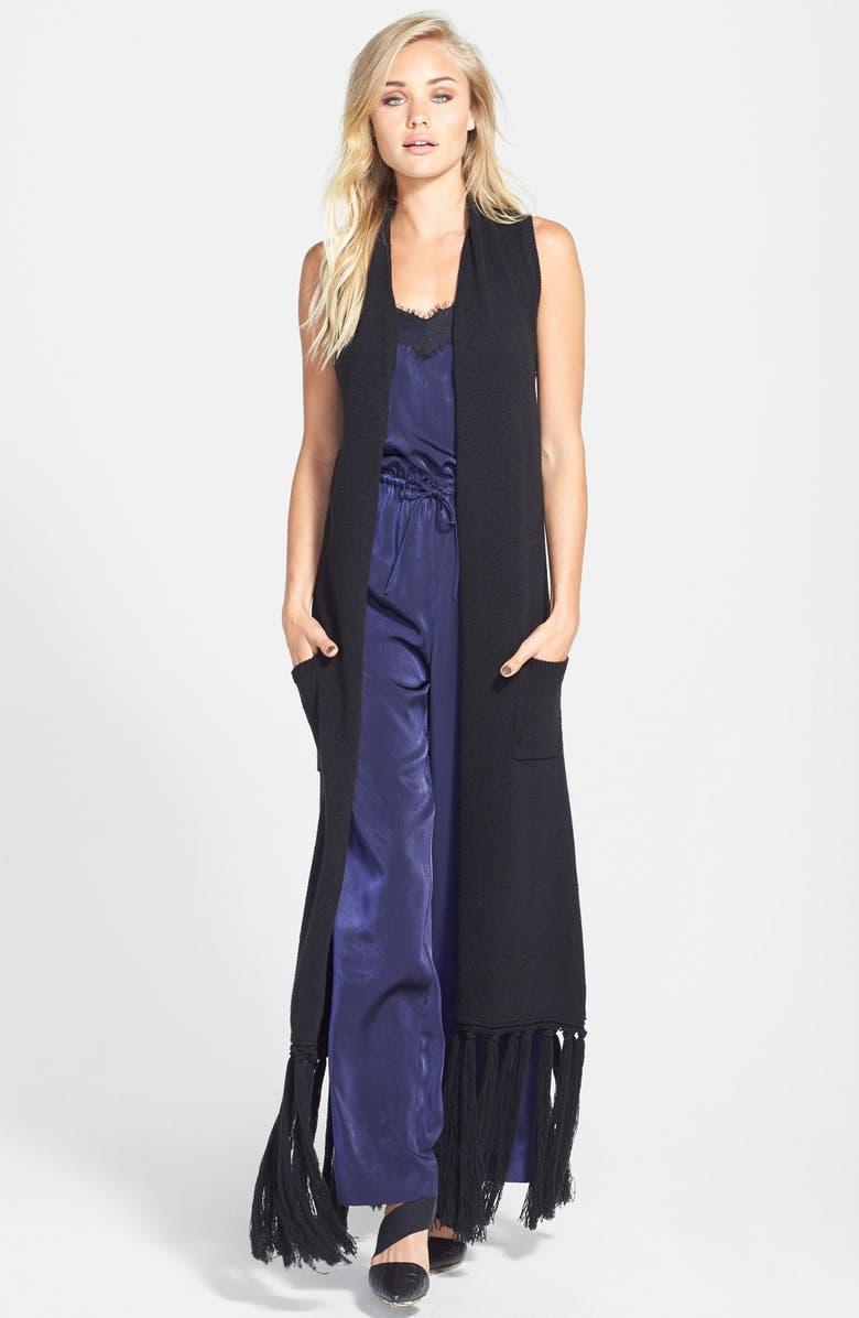 LEITH Fringe Cardigan Vest, Main, color, Black