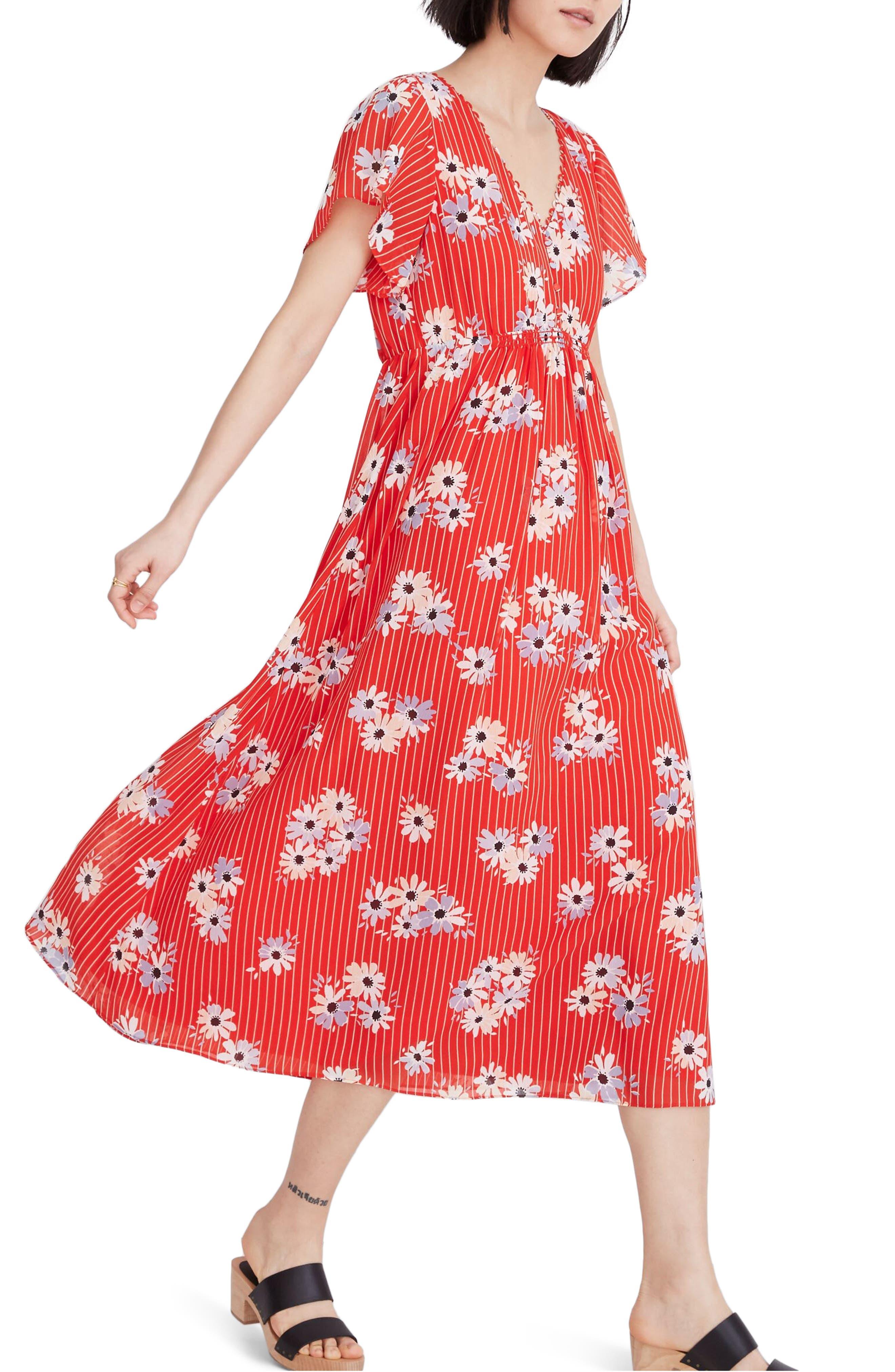 Madewell Daisy Society Scalloped Flutter Sleeve Midi Dress, Red