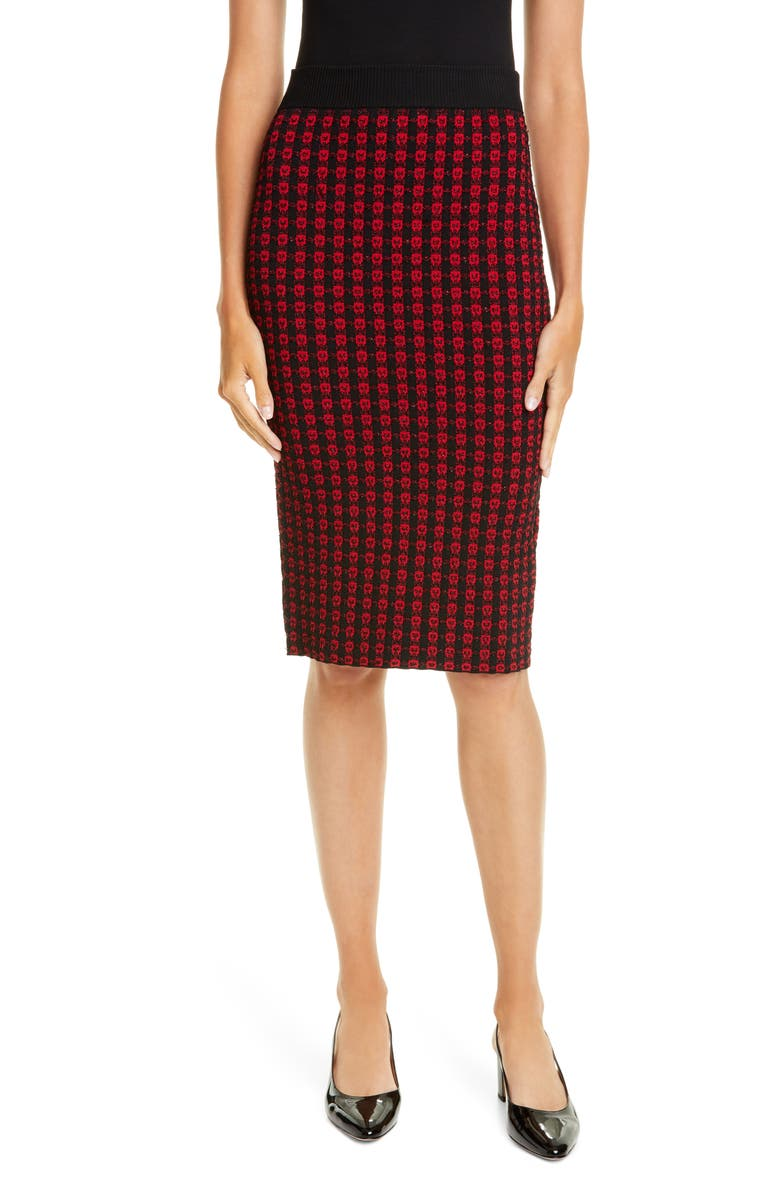 RED VALENTINO Heart Metallic Sweater Skirt, Main, color, BLACK/ RED