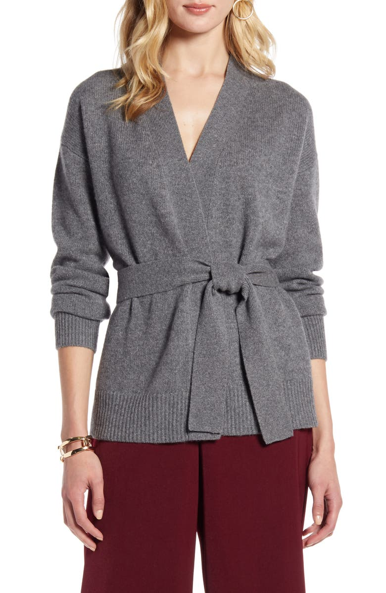 HALOGEN<SUP>®</SUP> Wrap Cashmere Cardigan, Main, color, GREY DARK HEATHER