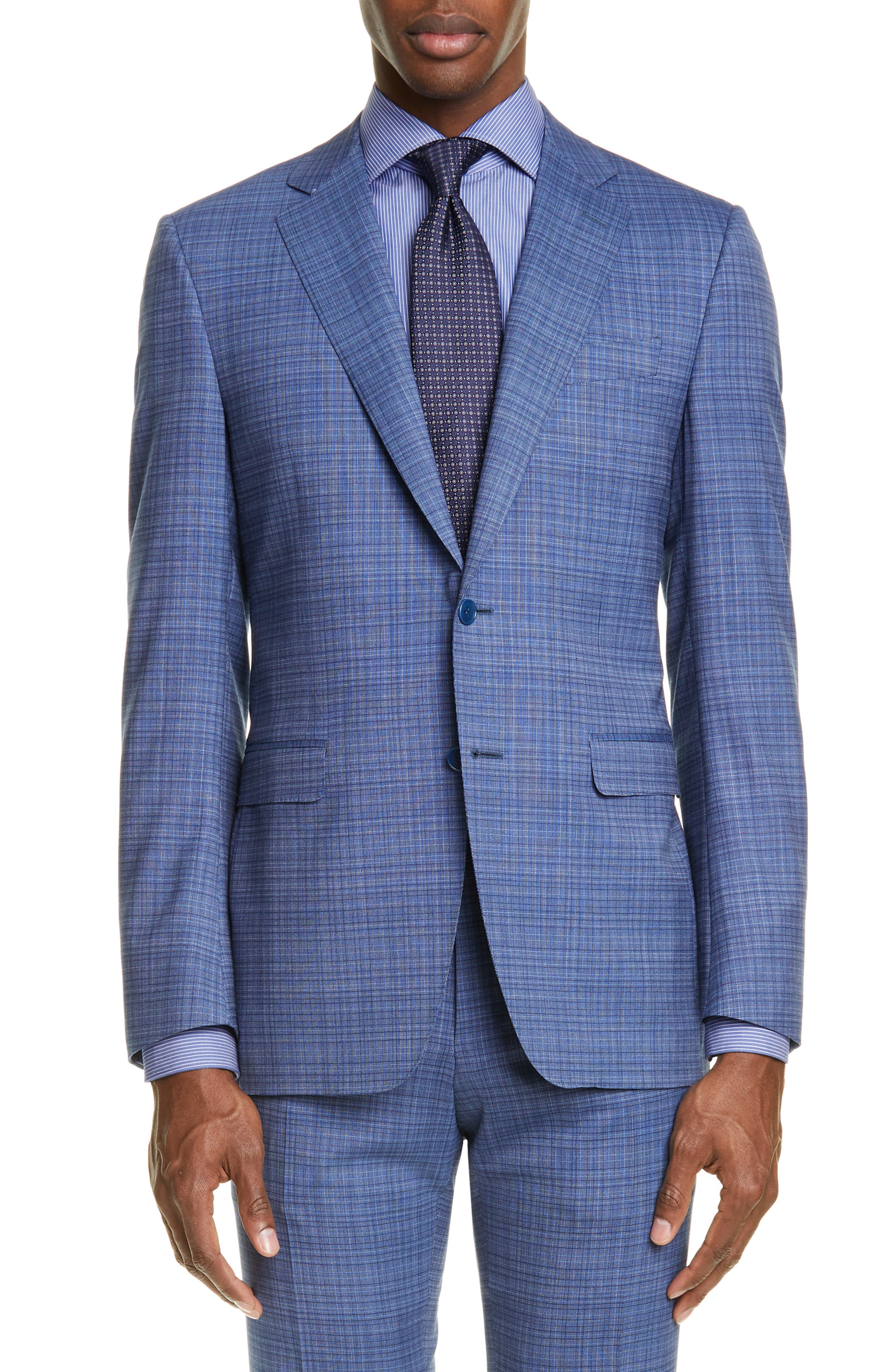 ,                             Milano Classic Fit Check Wool Suit,                             Alternate thumbnail 5, color,                             BLUE