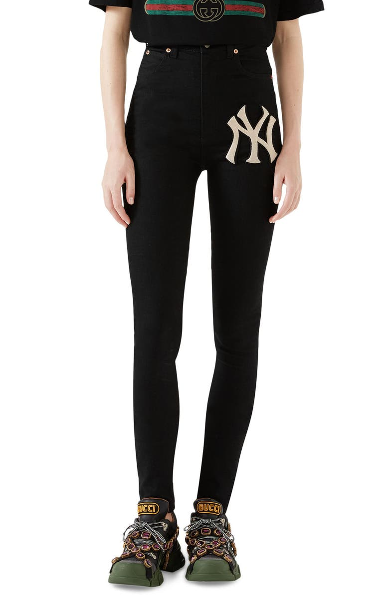 GUCCI NY Patch Skinny Jeans, Main, color, BLACK/ IVORY