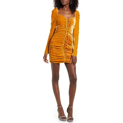 Endless Rose Ruched Long Sleeve Velvet Body-Con Dress, Yellow