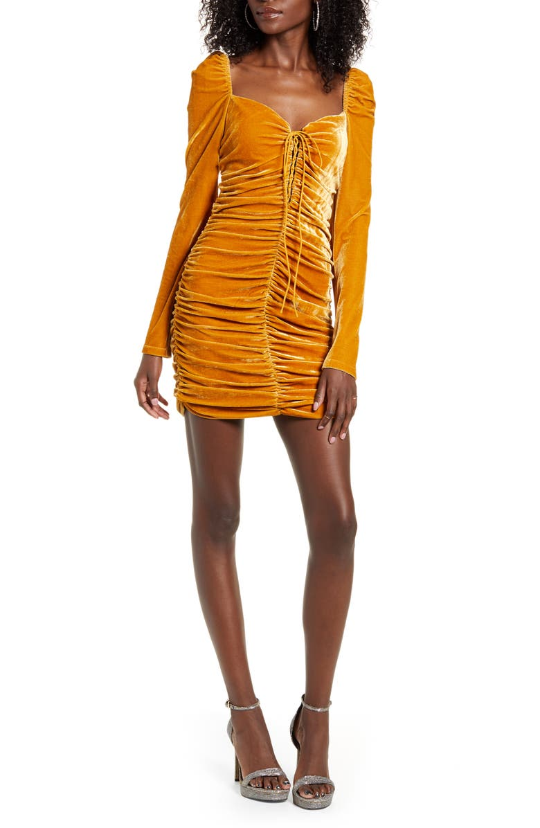 ENDLESS ROSE Ruched Long Sleeve Velvet body-Con Dress, Main, color, YELLOW