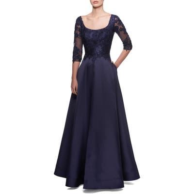 La Femme Lace & Mikado A-Line Gown, Blue