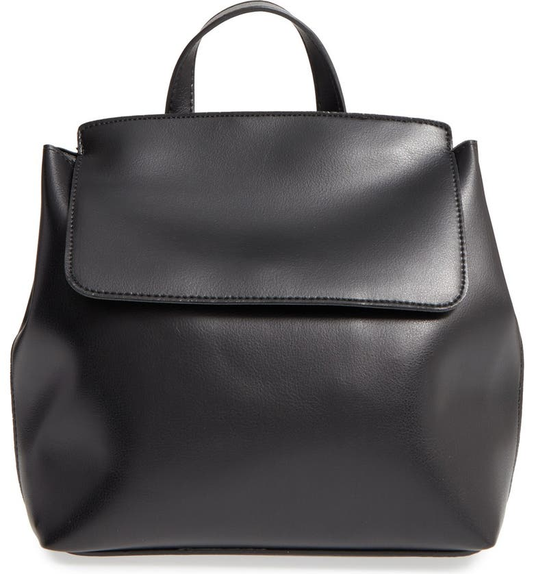 BP. 'Minimal Flap' Faux Leather Backpack, Main, color, 001