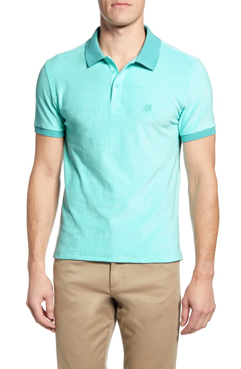VILEBREQUIN Slim Fit Terry Polo, Main, color, LAGOON