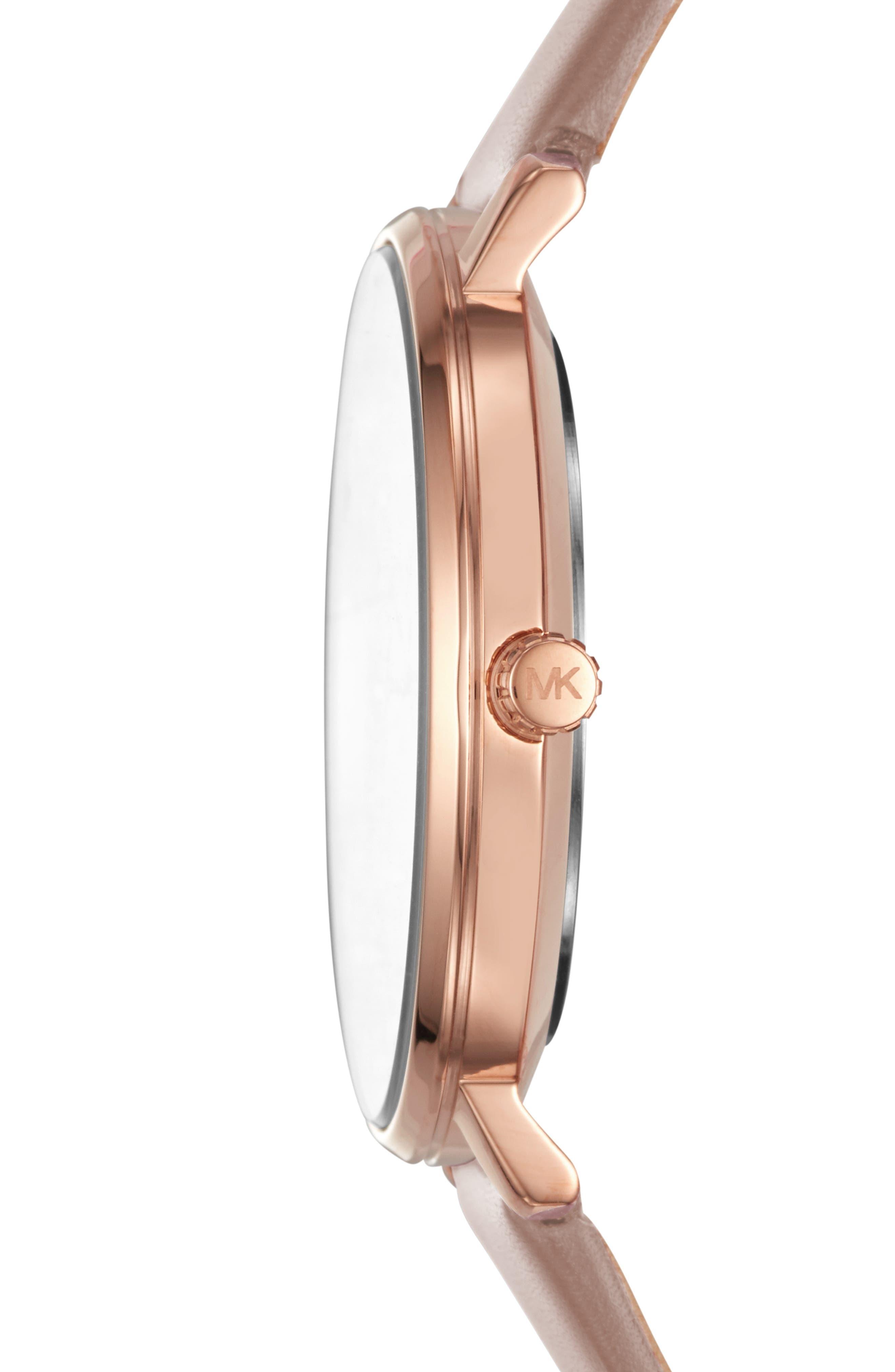,                             Pyper Leather Strap Watch, 38mm,                             Alternate thumbnail 2, color,                             MOCHA/ WHITE/ ROSE GOLD