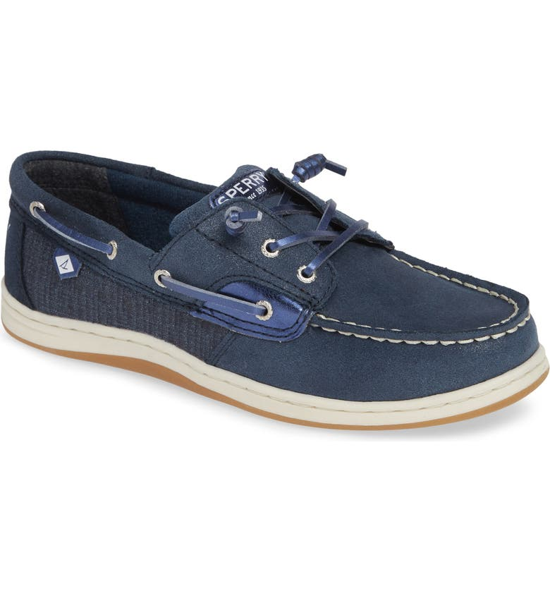 SPERRY KIDS 'Songfish Jr' Boat Shoe, Main, color, NAVY LEATHER