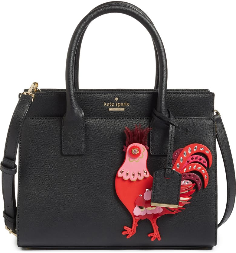 KATE SPADE NEW YORK rooster small candace leather satchel, Main, color, MULTI