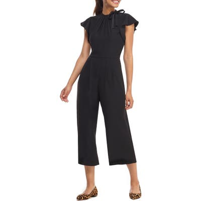 Gal Meets Glam Collection Sybil Flutter Sleeve Jumpsuit, Black