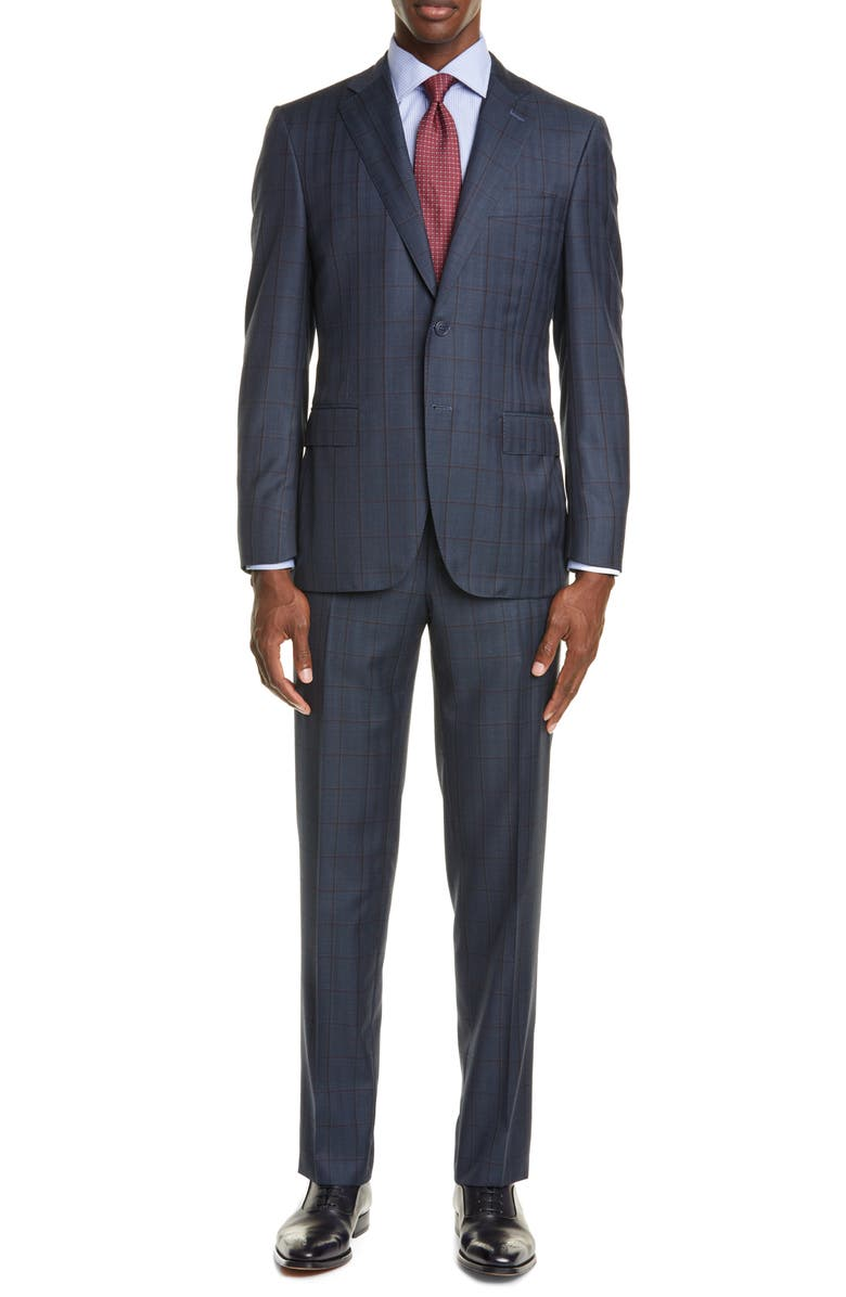 CANALI Sienna Soft Classic Fit Windowpane Wool Suit, Main, color, BLUE