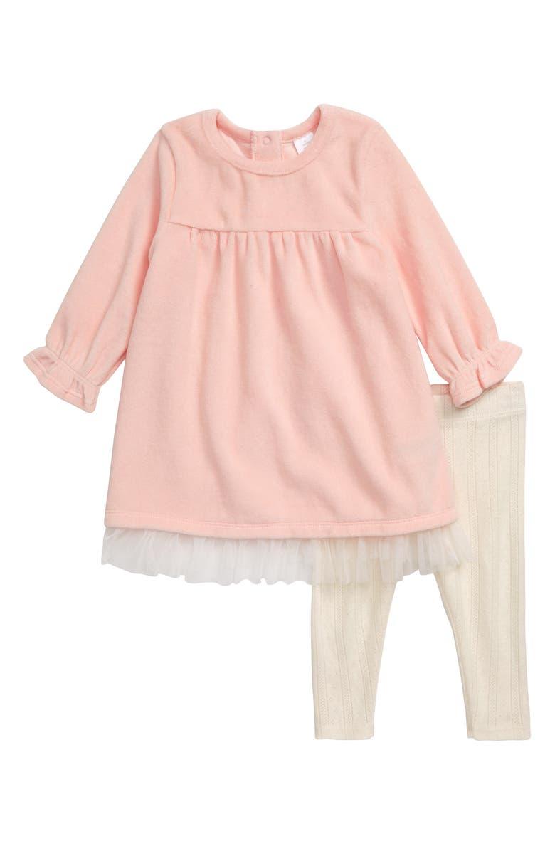 NORDSTROM Baby Velour Dress & Leggings Set, Main, color, PINK ENGLISH