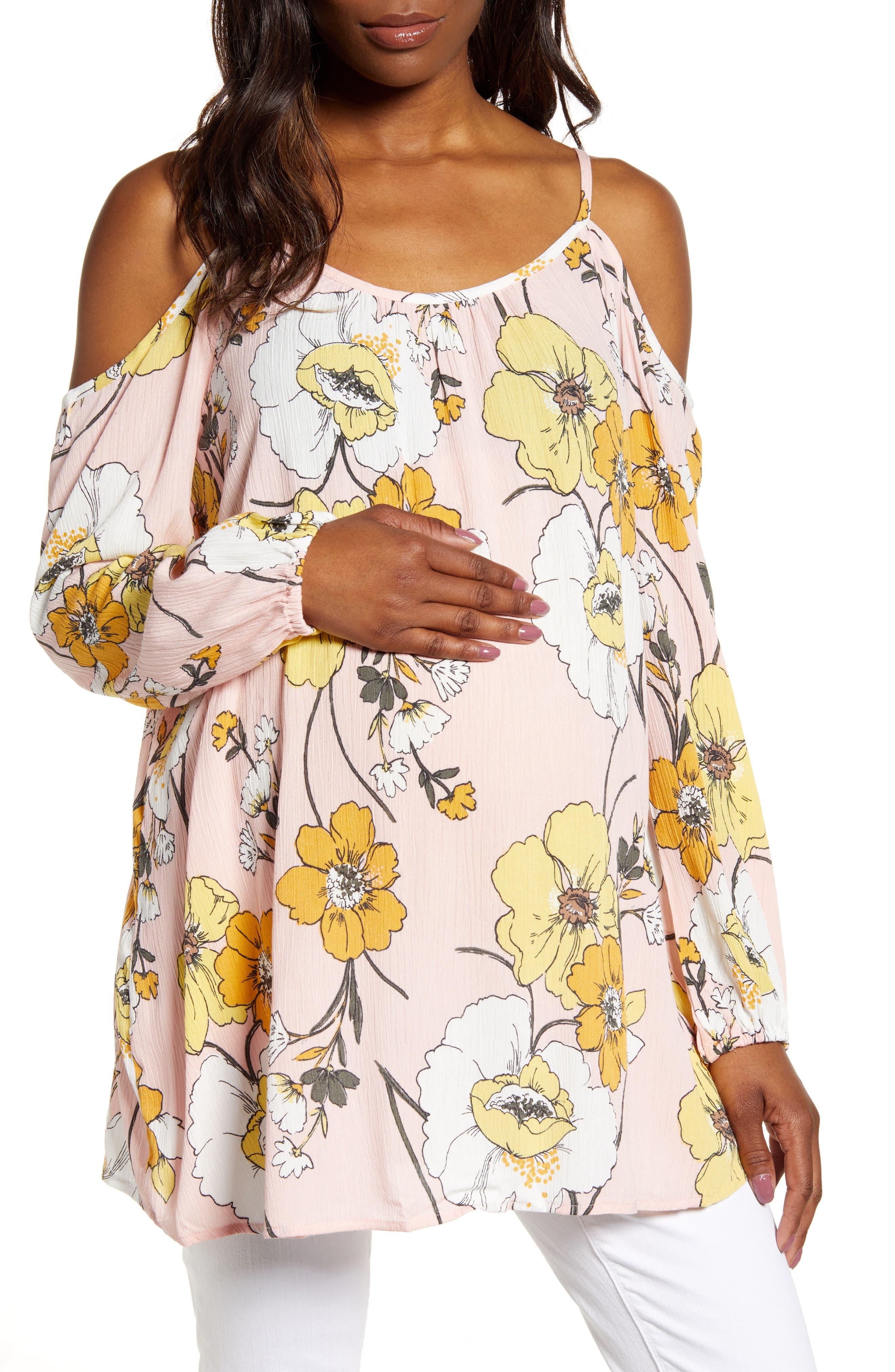 Floral Cold Shoulder Maternity Top