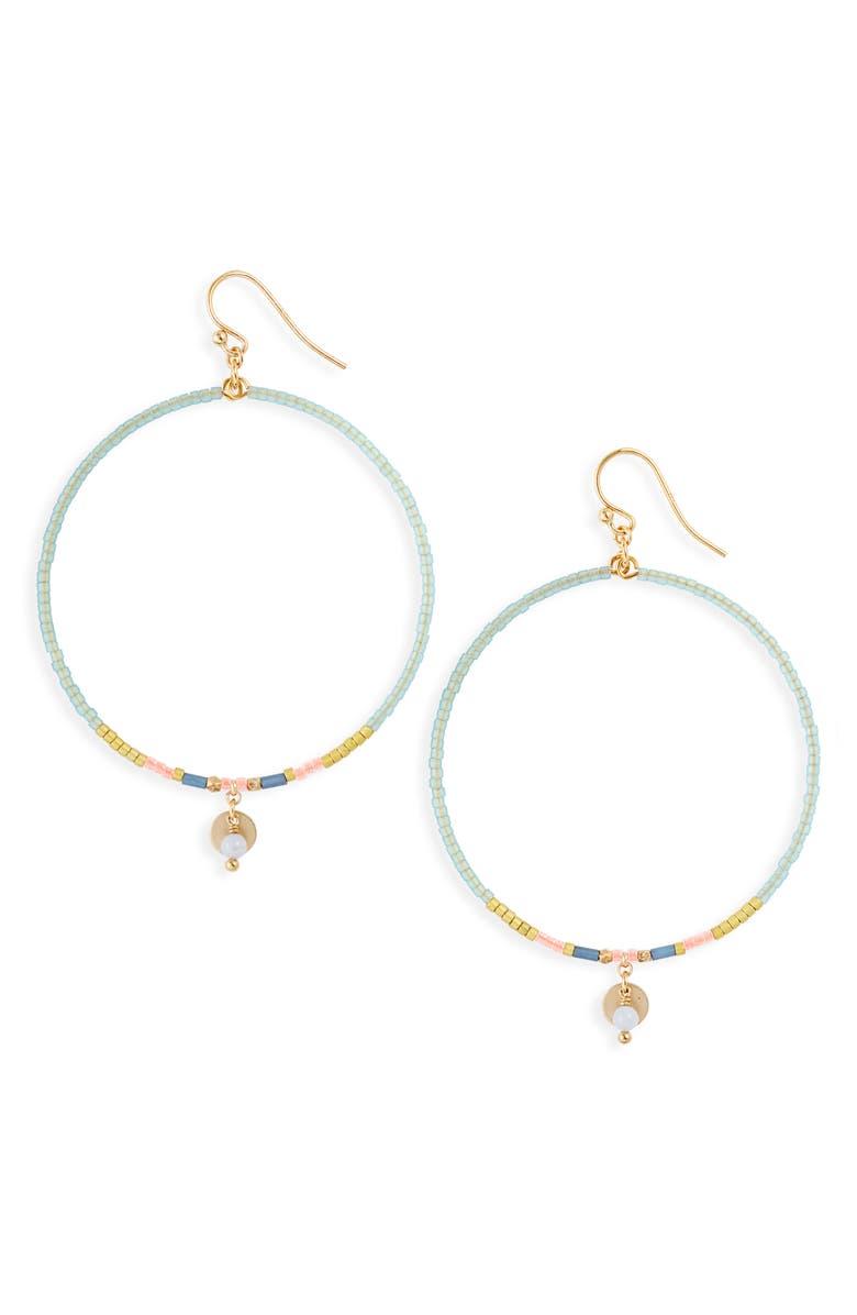 CHAN LUU Beaded Hoop Earrings, Main, color, 300
