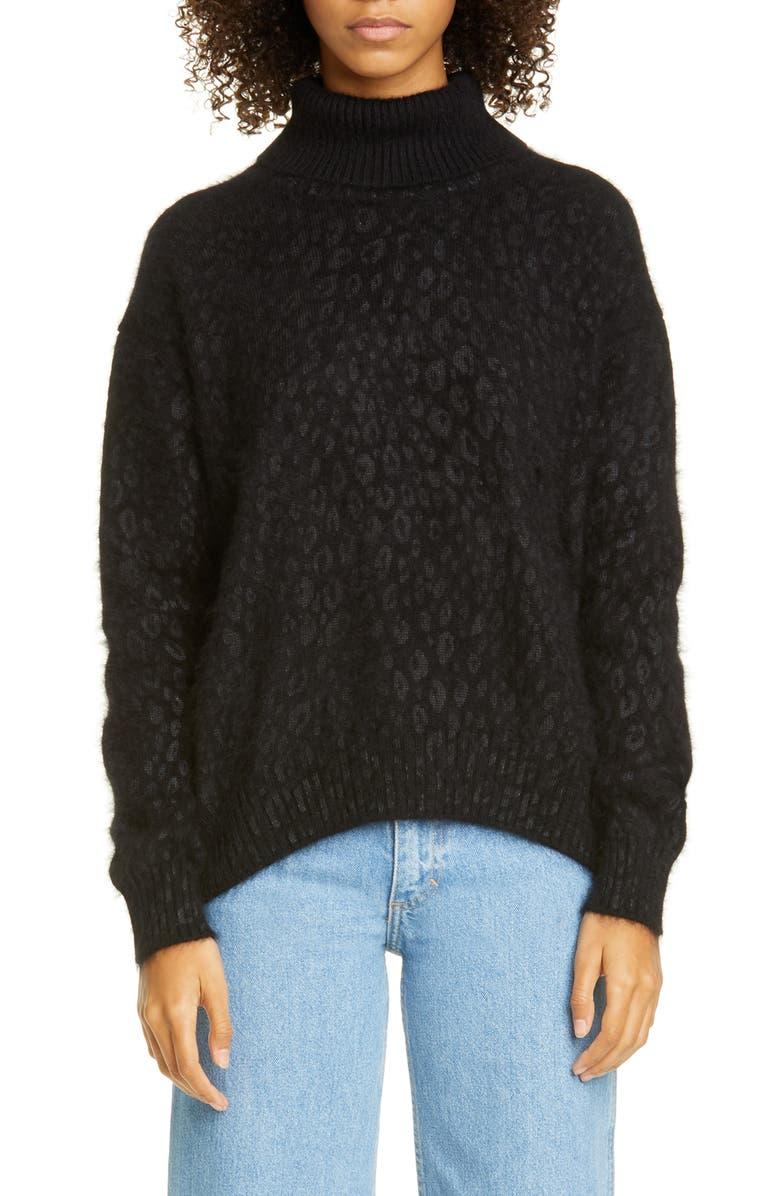 TRICOT COMME DES GARÇONS Leopard Jacquard Angora & Wool Blend Sweater, Main, color, BLACK