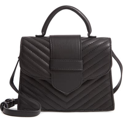 Steve Madden Mini Chevron Quilted Faux Leather Top Handle Satchel - Black