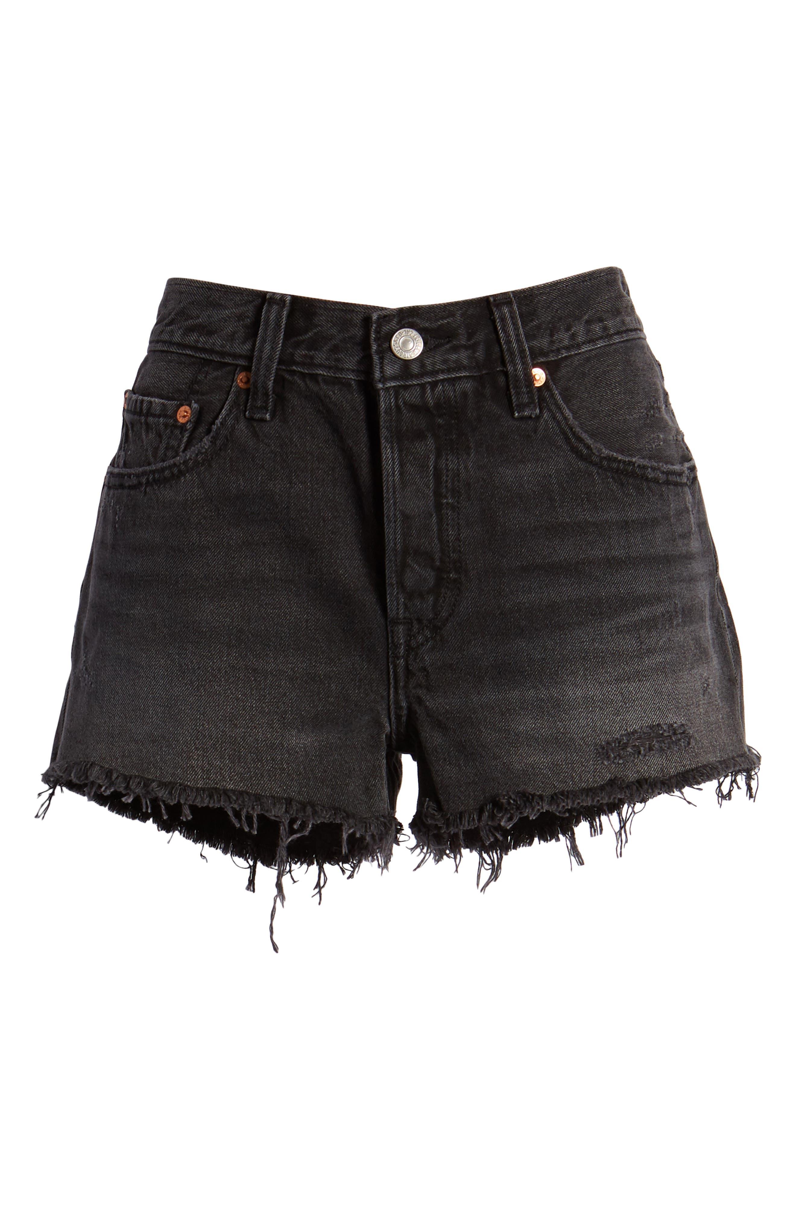 ,                             501<sup>®</sup> Cutoff Denim Shorts,                             Alternate thumbnail 6, color,                             TRASHED BLACK