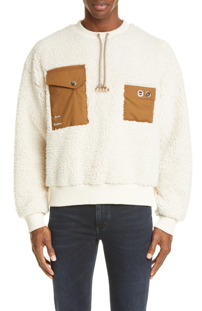 ACNE STUDIOS Fabion Polar Sweatshirt, Main, color, ECRU BEIGE