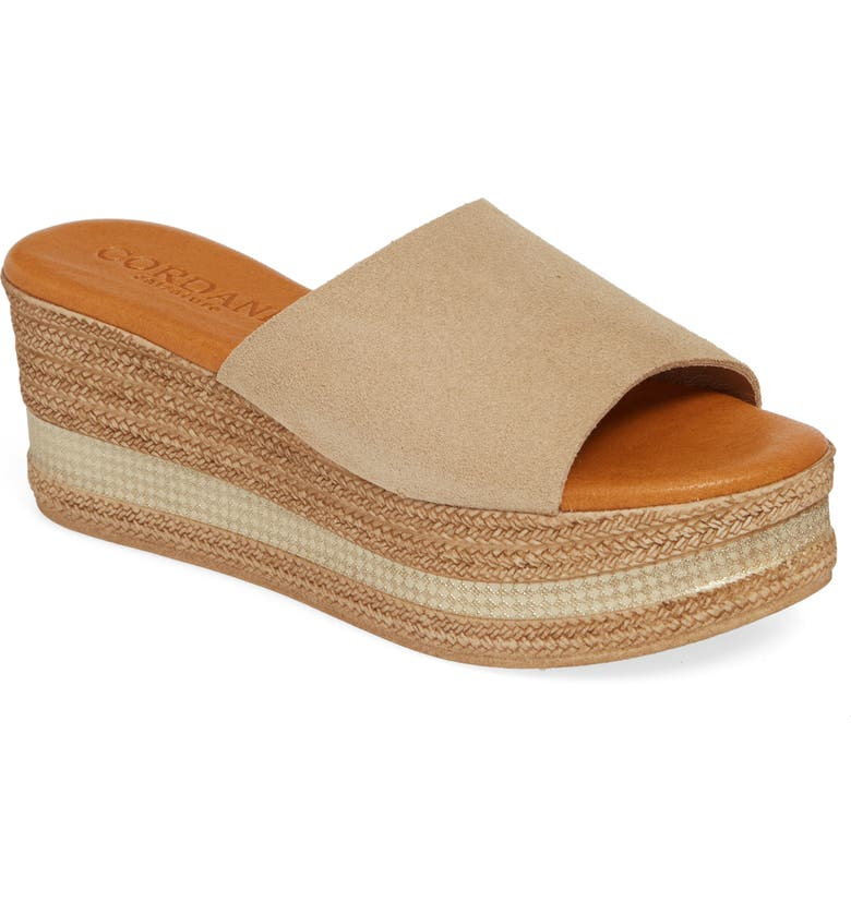 CORDANI Barbara Wedge Slide Sandal, Main, color, SAND SUEDE
