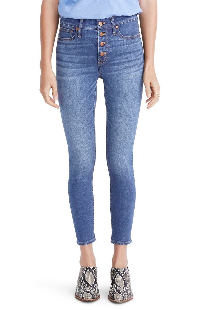 MADEWELL Button Front Crop Skinny Jeans, Main, color, DEWEY