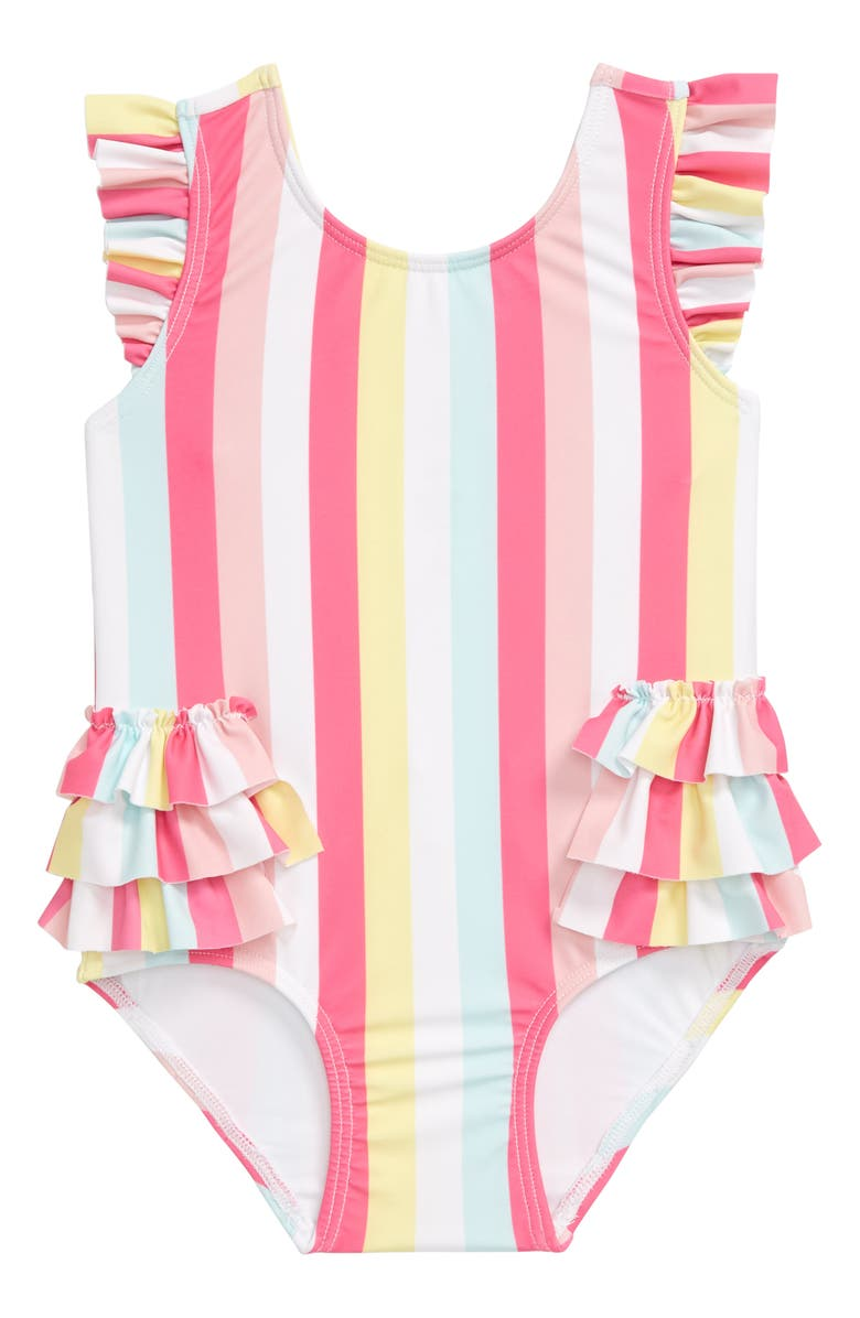 TUCKER + TATE Ruffle One-Piece Swimsuit, Main, color, PINK POWDER GROOVY STRIPE
