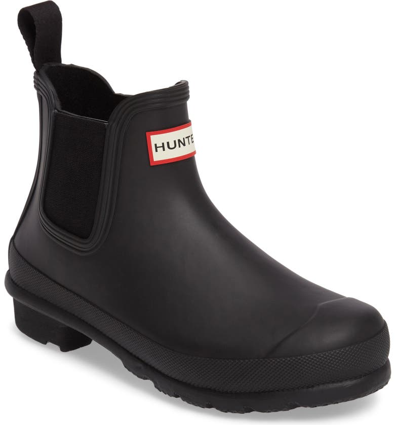 HUNTER Original Waterproof Chelsea Rain Boot, Main, color, BLACK MATTE