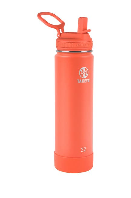 Image of Takeya Actives Insulated 22 oz. Stainless Steel Bottle with Straw Lid - Coral