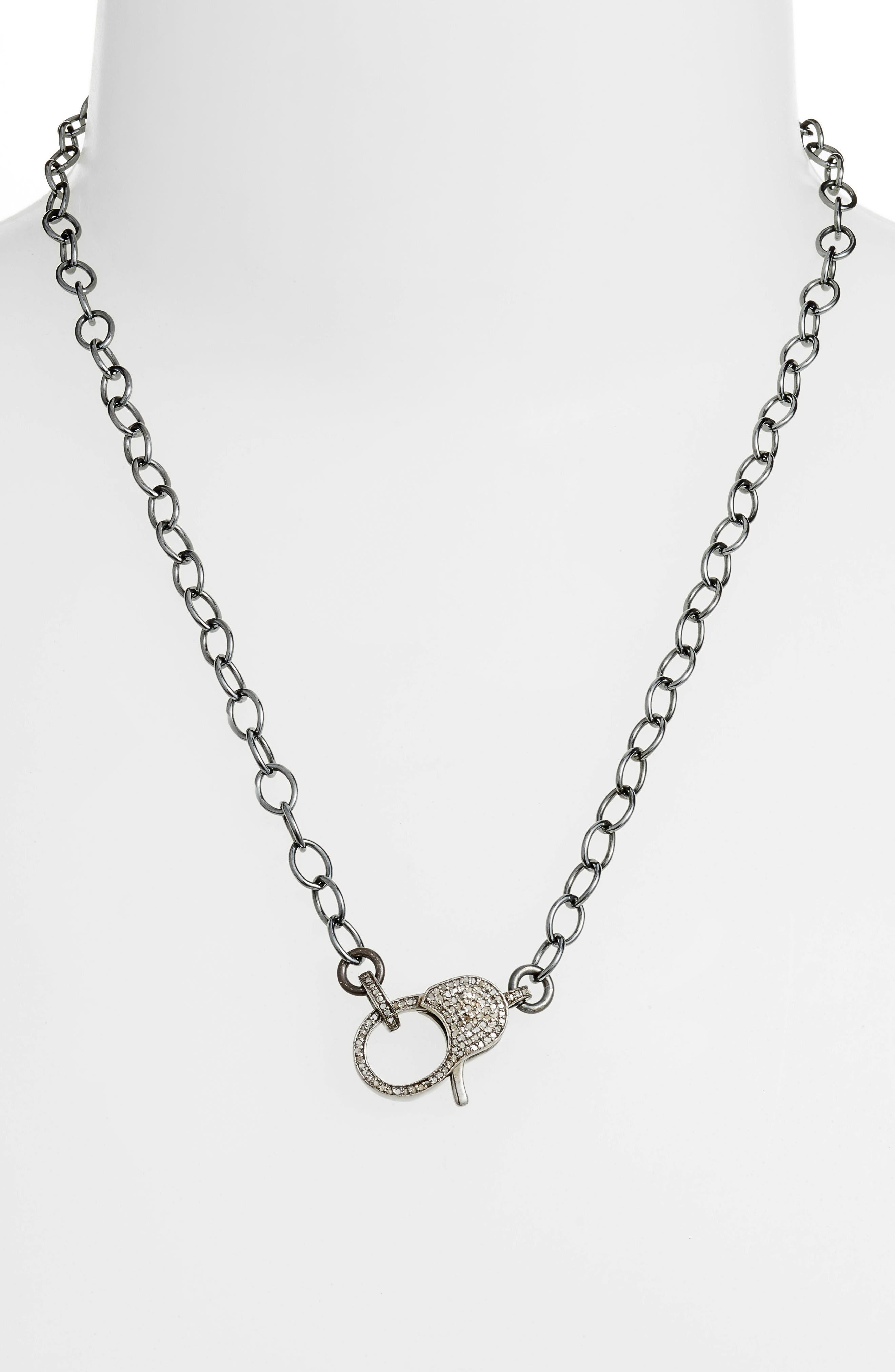 Diamond Pave Lock Chain Necklace