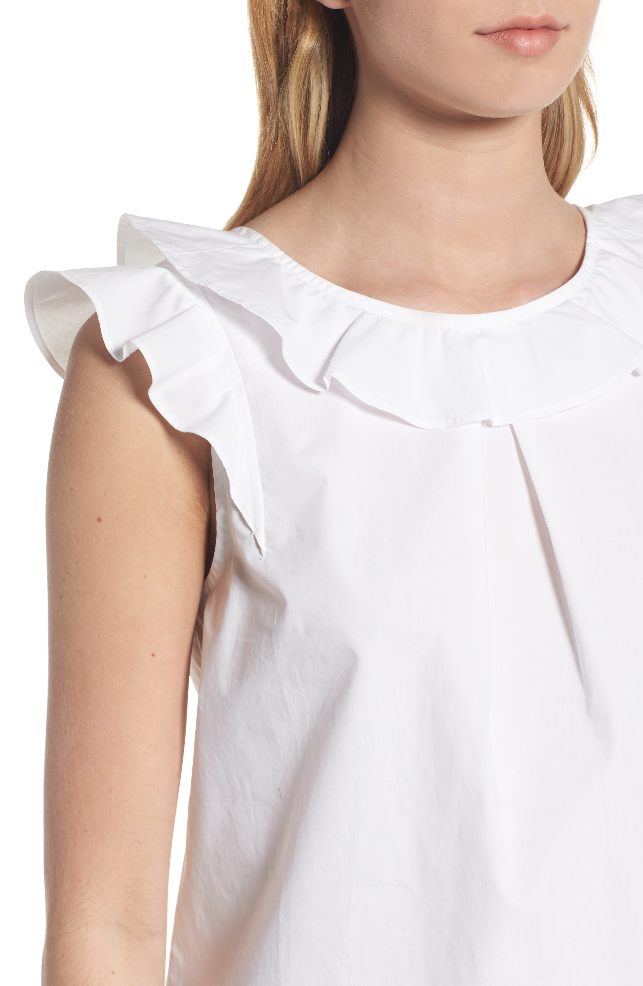 ,                             Ruffle Cotton Poplin Top,                             Alternate thumbnail 4, color,                             100