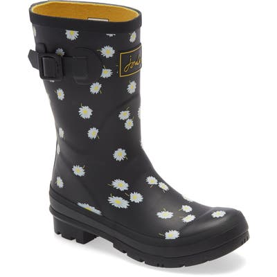 Joules Molly Floral Print Welly Waterproof Rain Boot, Black