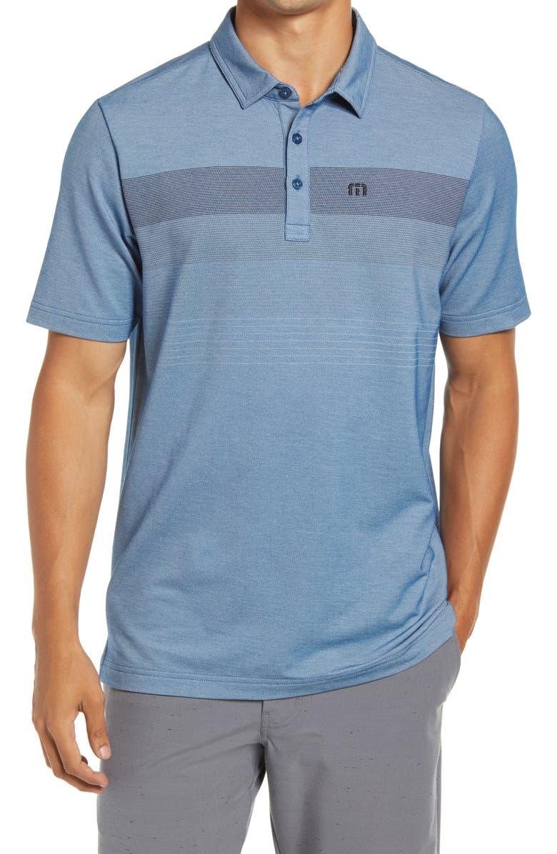 TRAVISMATHEW Two Min Drill Regular Fit Short Sleeve Polo, Main, color, HEATHER BLUE OPAL