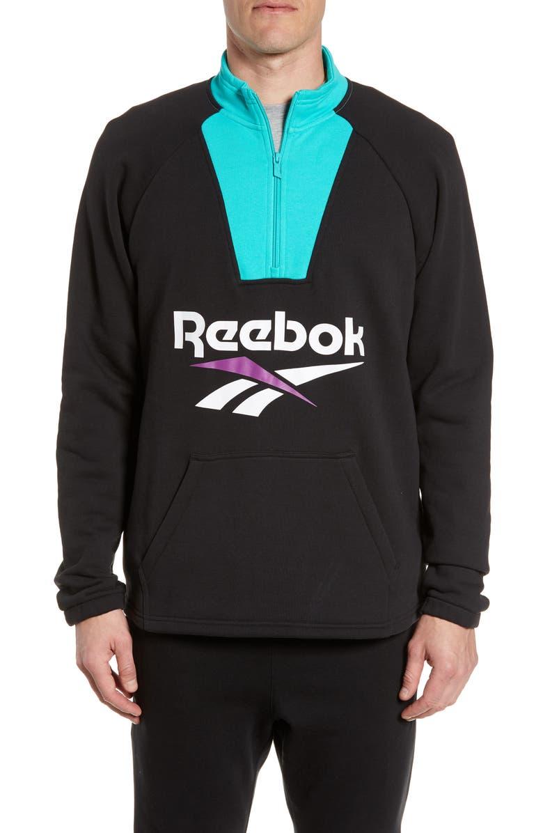 REEBOK Quarter Zip Sweatshirt, Main, color, BLACK
