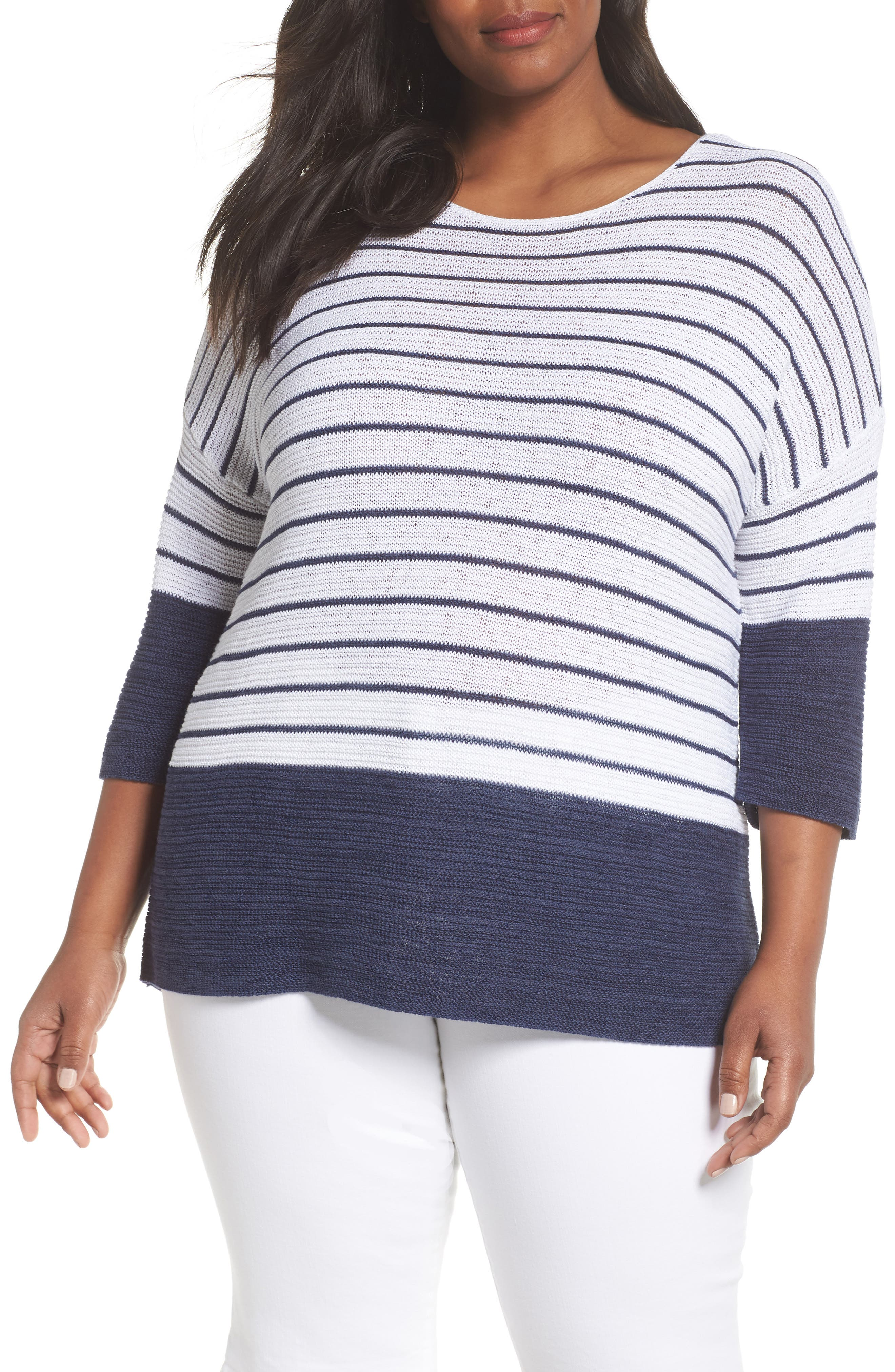 Liven up your warm-weather sweater drawer with the fresh stripes of a relaxed knit top finished in bold indigo for a faux layered look. Style Name: Nic+Zoe Crossroads Knit Top (Plus Size). Style Number: 5612088. Available in stores.