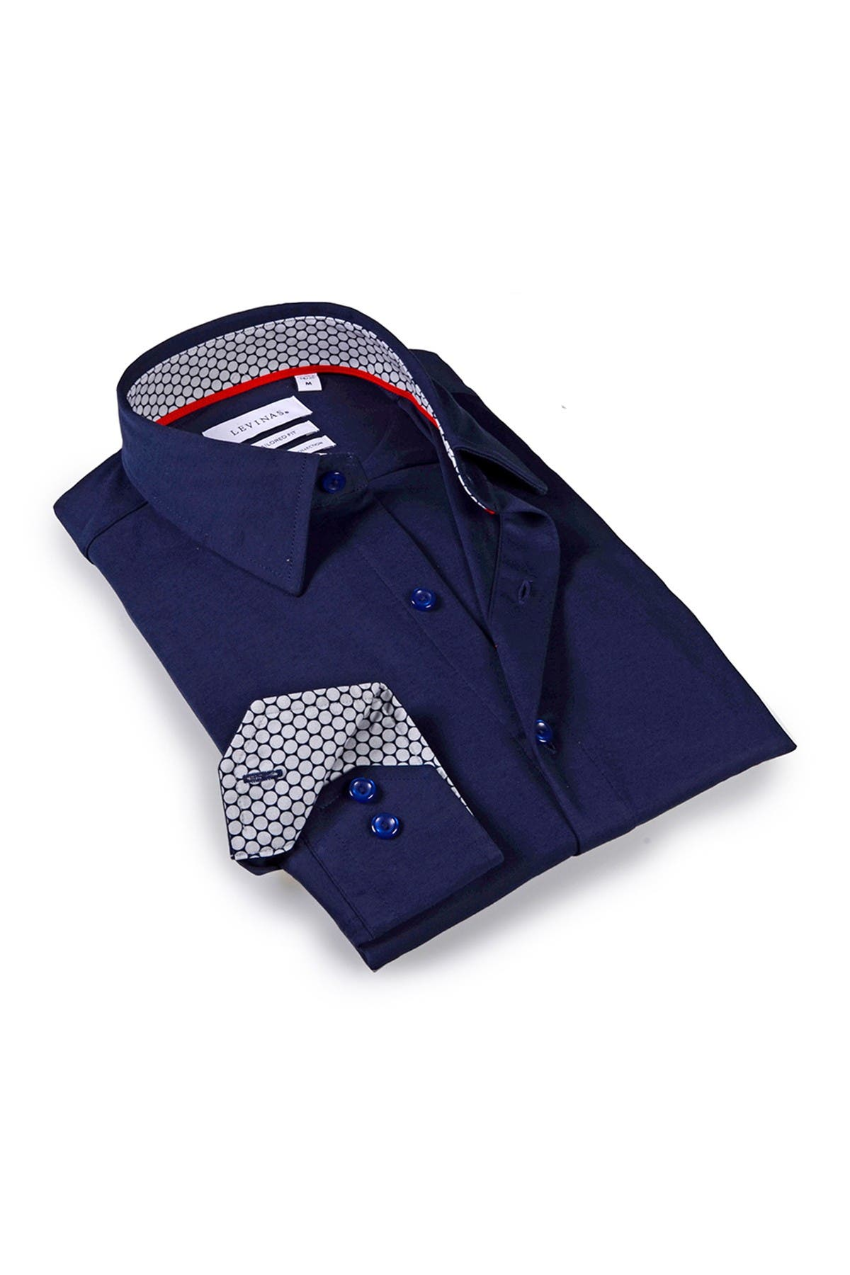 Image of Levinas Solid Trim Tailored Fit Dress Shirt