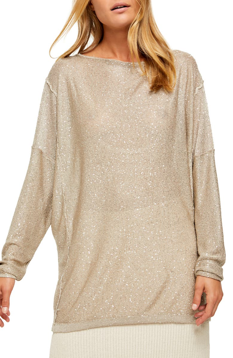 FREE PEOPLE All That Glitters Backless Long Sleeve Sweater, Main, color, CHAMPAGNE COMBO