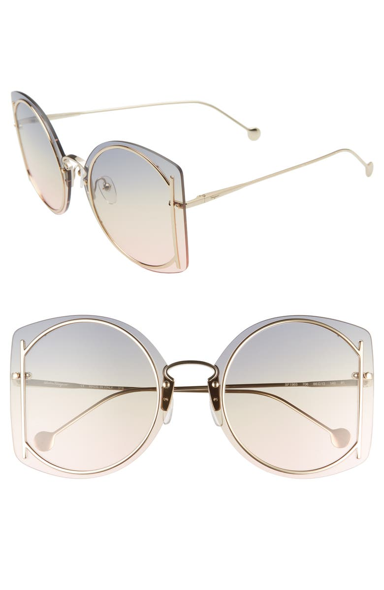 SALVATORE FERRAGAMO 66mm Oversize Rimless Sunglasses, Main, color, 710