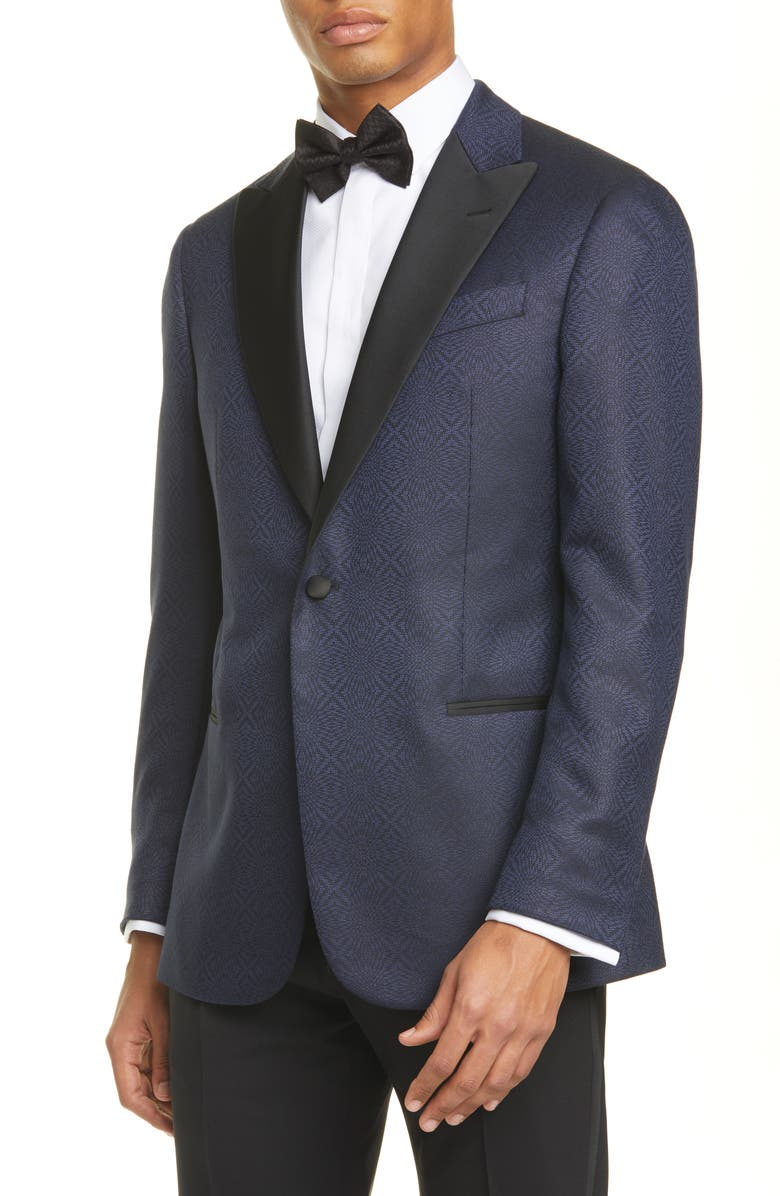 EMPORIO ARMANI G Line Trim Fit Geometric Wool & Silk Dinner Jacket, Main, color, BLUE
