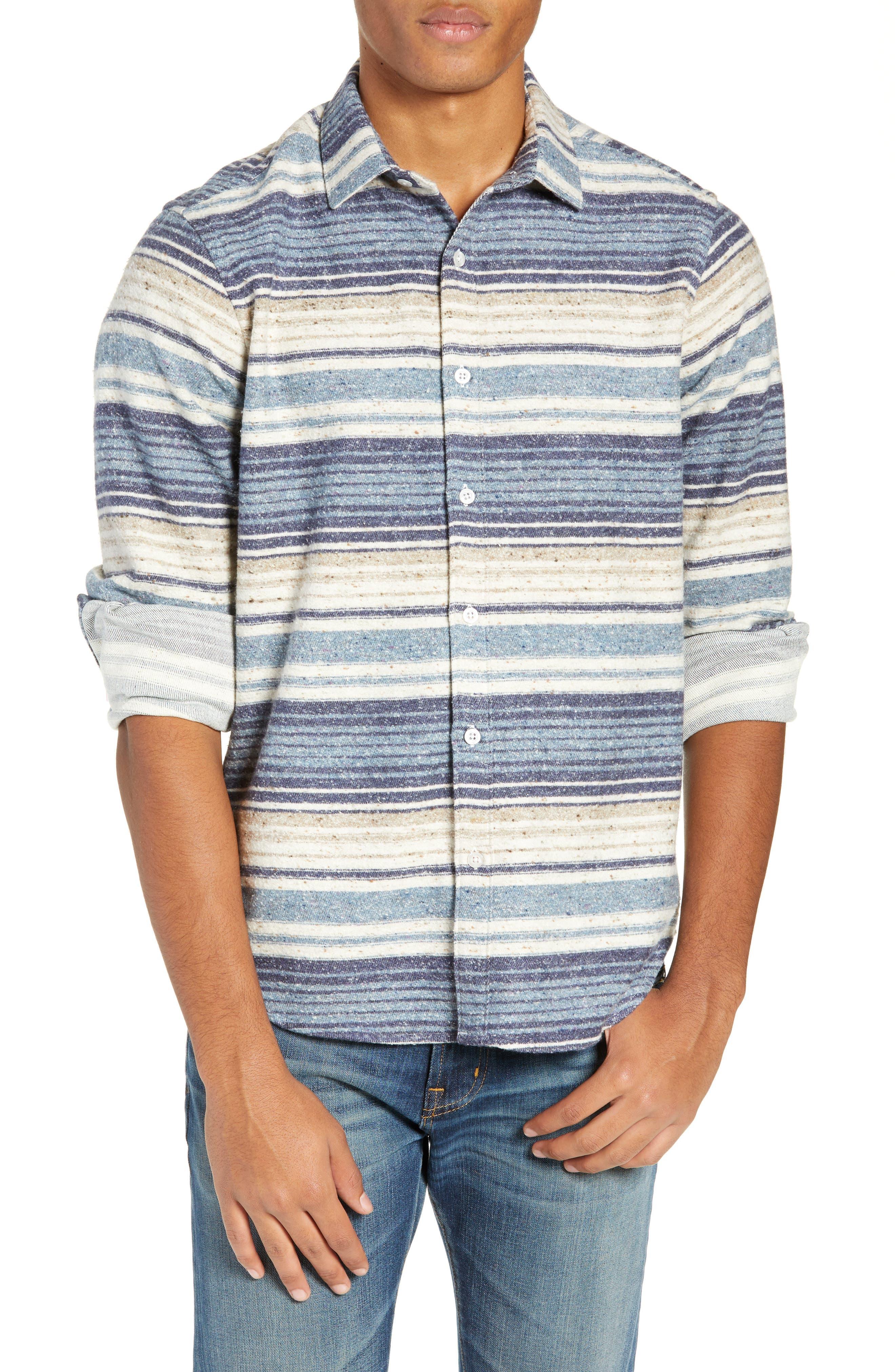 Jeff Berwick Slim Fit Long Sleeve Stripe Sport Shirt, Blue