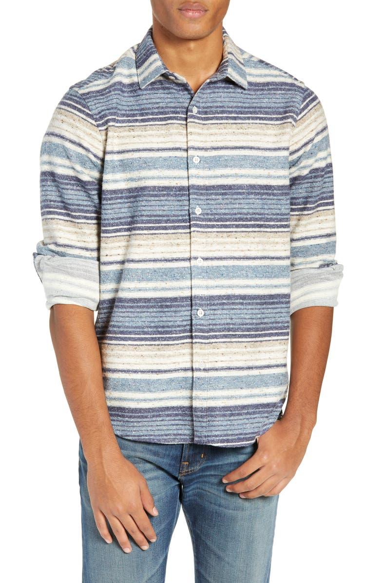 JEFF Berwick Slim Fit Long Sleeve Stripe Shirt, Main, color, 400