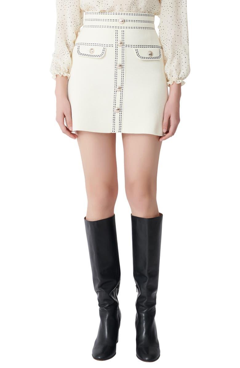 MAJE Jisla High Waist Knit Miniskirt, Main, color, ECRU