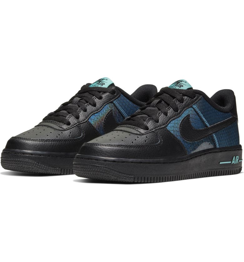 NIKE Air Force 1 SE Sneaker, Main, color, BLACK/ BLUE HERO/ AURORA