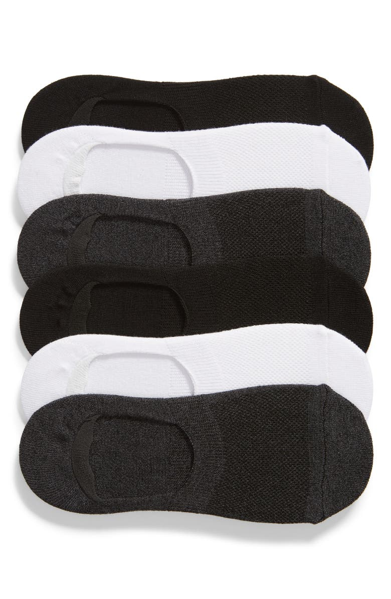 NORDSTROM 6-Pack No-Show Liner Socks, Main, color, CHARCOAL MULTI